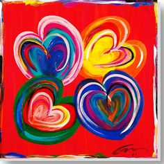 "SOLD - ""Four Hearts"" - edition 4  acrylic on museum stretched canvas  36"" x 36"" $750  http://www.macworthington.com/paintings.aspx"