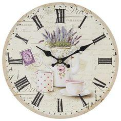 Orologio da muro  in legno decor lilla tea set retro diam 34 cm