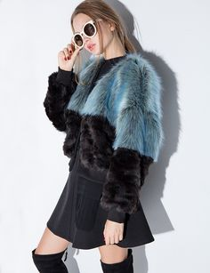 TDS Blue And Grey Faux Fur Bomber Jacket #pixiemarket #fashion #womenclothing @pixiemarket