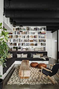 Bookcase and sectional. These are a few of my favorite things.