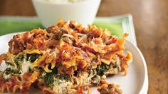 Flavored cream cheese adds smooth texture and great taste to a meaty pasta casserole.