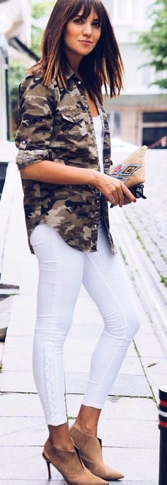 #spring #summer #street #style #outfitideas |Camo Shirt + White + Nude Suede Booties