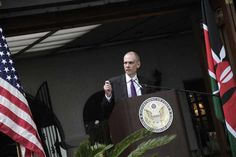 The United States Ambassador to Kenya,  Robert F. Godec,  gives a speech during the celebration of the 237th Independence Day of the US on July 3, 2013. The United States government has affirmed that all the programmes it is involved in within Kenya are for the good of Kenyans and their country. FILE PHOTO   EMMA NZIOKA  