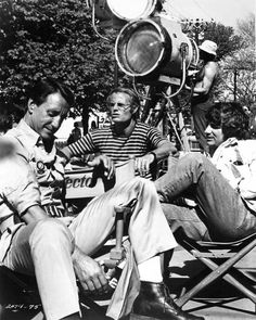Roy Scheider, producer Richard D. Zanuck, and director Steven Spielberg on the set of Jaws (1975).