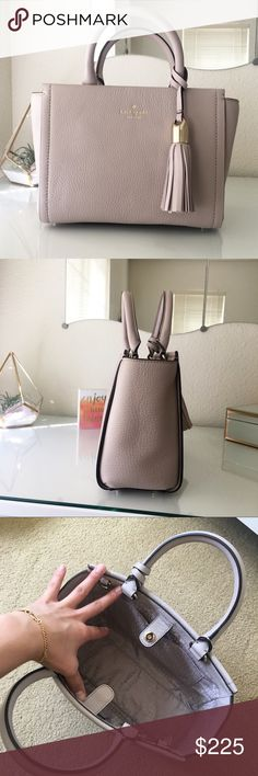 Kate Spade ♠️Small Rorie Gorgeous kate spade mini bag. In the color almondine. Leather exterior with leather tassle charm. Comes with detachable crossbody strap and has two top handles. Inside there is one zip compartment and pocket. Perfect nude bag to g
