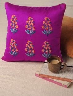 Mughal Magenta Embroidered Cushion Cover from jaypore