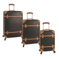 Buy the Diane Von Furstenberg Saltui Three Piece Hardside Set at eBags - Inspired by the look of vintage travel trunks, this three piece luggage set from DVF is perfect for 3 Piece Luggage Set, Luggage Sets, Travel Luggage, Luggage Backpack, Diane Furstenberg, Luggage Reviews, Designer Luggage, Hardside Spinner Luggage, Vintage Trunks