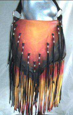 """Bolso de cuero del diseñador """"El Fénix"""" personalizado artesanal con flecos bolso gamuza Fringe Buckskin Hippie hecho a mano por Debbie cuero..."""