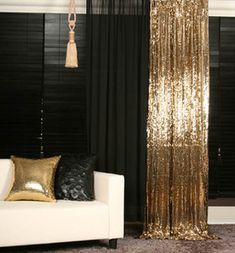 Gold Sequins Beaded Curtain and black wall detail living room design decor