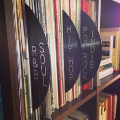 Dividers from vinyl. It's an option. Cd Storage, Vinyl Record Storage, Pub Radio, Record Cabinet, Le Shop, Vinyl Junkies, Record Players, Music Wall, Vinyls