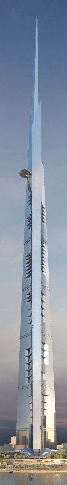 Kingdom Tower would surpass the Burj Khalifa by at least 173 meters feet). Designed by Chicago's Adrian Smith + Gordon Gill Architecture, Kingdom Tower in Jeddah, Saudi Arabia would be over 1 kilometer tall Unusual Buildings, Interesting Buildings, Amazing Buildings, Modern Buildings, Futuristic Architecture, Beautiful Architecture, Contemporary Architecture, Art And Architecture, Arquitectos Zaha Hadid