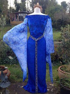 Real celta a medida azul vestido de boda handfasting por WYTCHHAZE