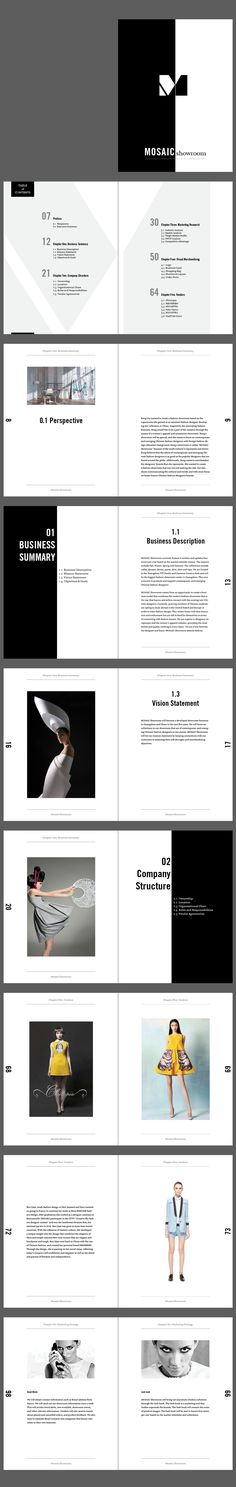 This is a book layout design for Mosaic Showroom's business plan.