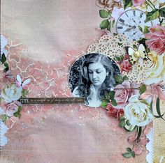 'Time' layout by Cathy Cafun Design Team for Kaisercraft using 'Mademoiselle' collection via Wendy Schultz ~ Scrapbook layouts. Scrapbook Journal, Scrapbook Albums, Scrapbooking, Scrapbook Layouts, Frame My Photo, Paper People, Watercolor Effects, Vintage Theme, General Crafts