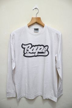 Vintage 90's BAPE Bathing Ape Man Japan Big Logo Couture Streetwear Long Sleeves Tee T shirt White Color Size L by VintageClothingMall on Etsy