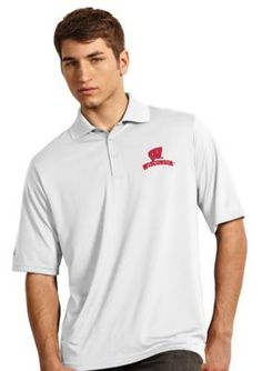 Antigua White Wisconsin Badgers Exceed Polo