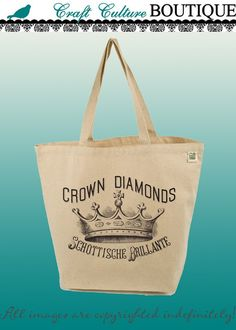Canvas Tote Bag-Large Carry All Recycled Organic Tote- Crown Diamonds-Vintage Ad on Etsy, $15.00