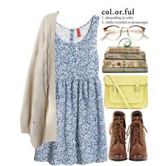 As Yellow as the Sun by evangeline-lily on Polyvore featuring moda, H&M, The Cambridge Satchel Company, RetroSuperFuture and Shabby Chic