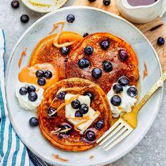 Almond Butter Pancakes recipe by Kelly l Life Made Sweeter Butter Pancake Recipe, Butter Pancakes, Lemon Ricotta Pancakes, Coconut Pancakes, Blueberry Pancakes, Pancakes And Waffles, Breakfast Pancakes, Breakfast Time, Coconut Flour