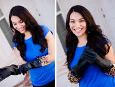 De zwarte Gloveables met panterprint in actie! #panterprint #huishoudhandschoenen  www.funables.nl Latex Gloves, Rubber Gloves, Housewife, Dish, Saree, Pretty, Fashion, Welly Boots, Gloves
