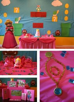 Princess Peach/ Mario birthday party for baby girl and brother. Super Mario Birthday, Mario Birthday Party, Super Mario Party, Princess Peach Party, Mario And Princess Peach, Peach Mario, Twin Birthday Parties, 4th Birthday, Birthday Ideas