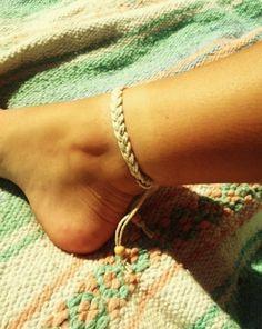 Surfeur Beachy été tressé en chanvre macramé perles bracelet de cheville ajustable