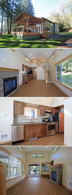 The Whidbey is a 400-square-foot park model tiny house built by West Coast Homes for Wildwood Lakefront Cottages, located along Lake Whatcom in Washington.