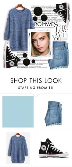 """""""Blue sweater"""" by alehrs ❤ liked on Polyvore featuring Balmain, AG Adriano Goldschmied, GALA, Converse and Momeni"""