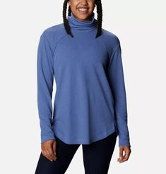 A comfy tunic with a versatile cowlneck, sleek silhouette, and super soft knit. Hiking Outfits, Columbia Sportswear, Tee Shirts, Tees, Shoe Sale, Cowl Neck, Long Sleeve Shirts, Tunic, T Shirts