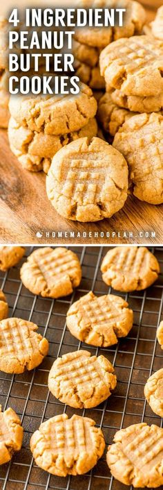 4 Ingredient Peanut Butter Cookies! These flourless peanut butter cookies only take one bowl and are a breeze to whip up. Their ultra-rich flavor makes them perfect for peanut butter lovers!   HomemadeHooplah.com