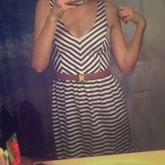 Navy blue striped dress Still with tags, love this dress but never had anywhere to wear it. Comes with removable belt. Opening in back Charlotte Russe Dresses