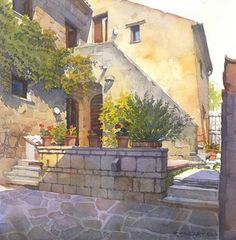 "Civita 3 by Richard Sneary Watercolor ~ 11"" x 11"""