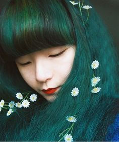 Teal Green | Teal Green and Flowers | Hair Colors Ideas