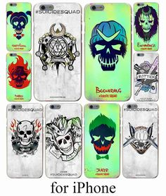 Comics Suicide Squad Character Skulls Joker Harley Quinn Hard Case Cover for iPhone 7 7 Plus 6 6S Plus 5 5S SE 5C 4S Case Cover