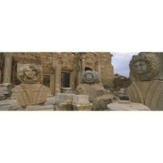 Close-up of statues in an old ruined building Leptis Magna Libya Canvas Art - Panoramic Images (36 x 13)