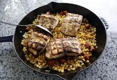 Recipe for grilled striped bass with corn and chorizo - The Boston Globe Striped Bass Recipe Grilled, Chorizo, Soups And Stews, Food For Thought, Main Dishes, Seafood, Grilling, Healthy Living, Vegan Recipes