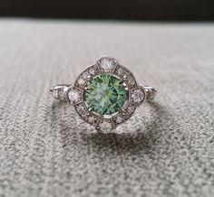 "Estate Halo Blue Green Moissanite Diamond Antique Engagement Ring Victorian Art Deco Mint Edwardian 14K White Gold ""The Charlotte"" by PenelliBelle on Etsy"
