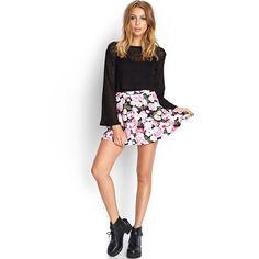 Floral Skater Skirt Adorable and feminine floral skater skirt. Never worn! Forever 21 Skirts Mini