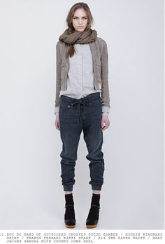 Love those jeans and the jacket!  Would not be able to wear the scarf like that though, because my neck is too short!