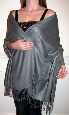Buy a grey shawl, grey pashmina silk wrap shawl  for any special occasion, evening wear, casual wear as a scarf or wrap. Grey is a shawl color every woman should have to look stylish and it matches many outfits so is a necessity for a woman's seasonal wardrobe. This grey color is great for fall winter and spring shawls. http://www.yourselegantly.com/catalogsearch/result/?q=grey+shawl&order=relevance&dir=desc