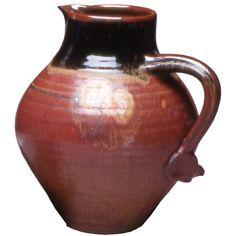 Maishe Dickman Hand Thrown Stoneware Shaner Red and Tenmoko Black Pitcher Fat, Artistic Artisan Pottery