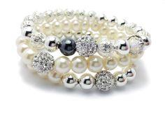 Beaded Pearl Bracelet - Pearl Bracelet - Pave