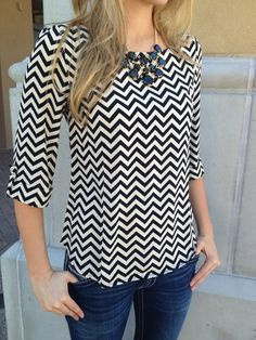 Love chevron, 3/4 sleeves and the fit of the blouse. A little loose but a little fitted.