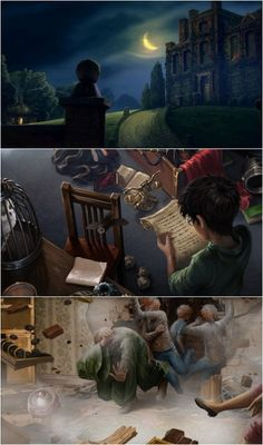 Harry Potter--I love the style of the top picture so much. It portrays the castle as less of a castle and more of a manor style house. Interesting.