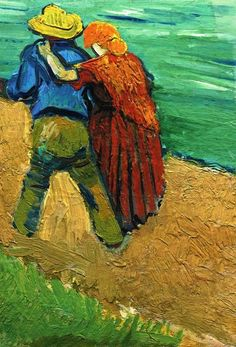 Vincent Van Gogh - Eglogue en Provence - Un Couple d'Amoureux. Painted in Arles in March 1888. Oil on canvas, 12 3/4 x 9 in. (32.5 x 23 cm). Sotheby's, New York, 07 May 2013. Sold for 7,109,000 USD