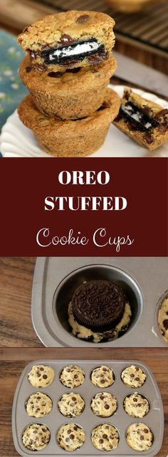 a cookie within a cookie! These Oreo Stuffed Cookie Cups are quick to make a OMG a cookie within a cookie! These Oreo Stuffed Cookie Cups are quick to make a. -OMG a cookie within a cookie! These Oreo Stuffed Cookie Cups are quick to make a. Baked Breakfast Recipes, Breakfast Bake, Best Dessert Recipes, Easy Desserts, Delicious Desserts, Fall Cookie Recipes, Bake Sale Treats, Bake Sale Recipes, Baking Recipes