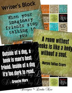 NEW- BOOK Writing Quotes .75 x .83 scrabble Images Buy 2 Get 1 Sale - Digital Collage Sheet scrapbooking printable stickers card ephemera. $3.95, via Etsy.