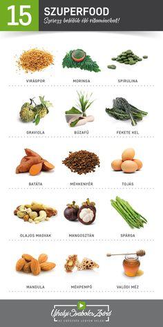 EGYÉL SZUPERÉTELEKET MINDEN NAP! Válaszd inkább a TERMÉSZETES, ÉLŐ VITAMINOKAT, flavonoidokat, zsírsavakat és ásványi anyagokat, a mesterséges vitaminkészítmények helyett. A szintetikus munlivitaminokkal sok káros anyagot is bejuttatsz a szervezetedbe, ráadásul belőlük a vitaminok sokkal kevésbé épülnek be a testedbe. Töltsd fel testedet ÉLŐ multivitaminokkal, a szuperételek segítségével! Legyél napról napra egyre egészségesebb, energikusabb, fiatalosabb és vidámabb!  Az egészség legyen… Fitt, Diet And Nutrition, Superfood, Herbalism, Remedies, Herbs, Health, Herbal Medicine, Health Care