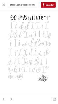 """50 ways to letter """"I"""" - Brush Lettering Practice + A Free Worksheet Hand Lettering Alphabet, Doodle Lettering, Creative Lettering, Brush Lettering, Lettering Ideas, Alphabet Fonts, Abc Alphabet, Alphabet Worksheets, Calligraphy Handwriting"""