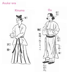 Clothes of the Asuka era / Nara era in Japan. Kimono.